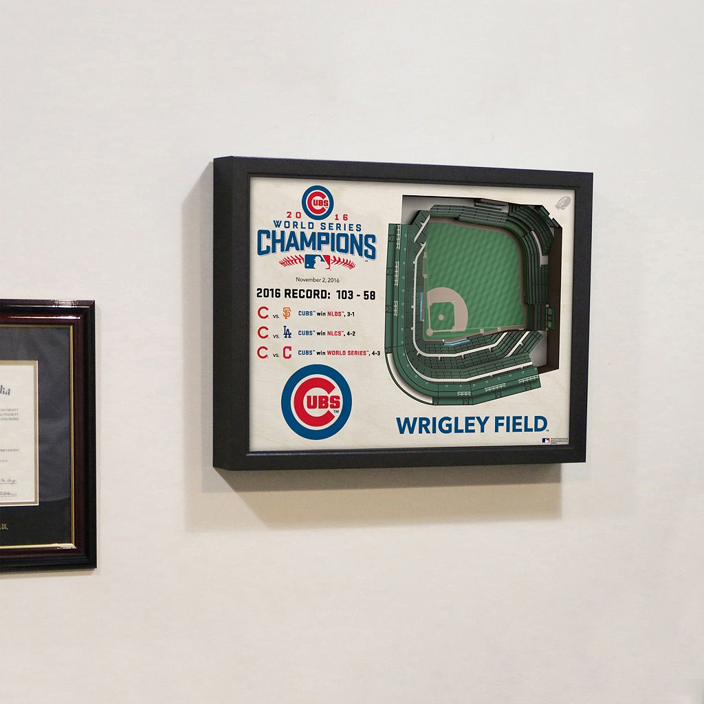Chicago Cubs 2016 World Series Champions Wrigley Field Stadium 3D Wall Art