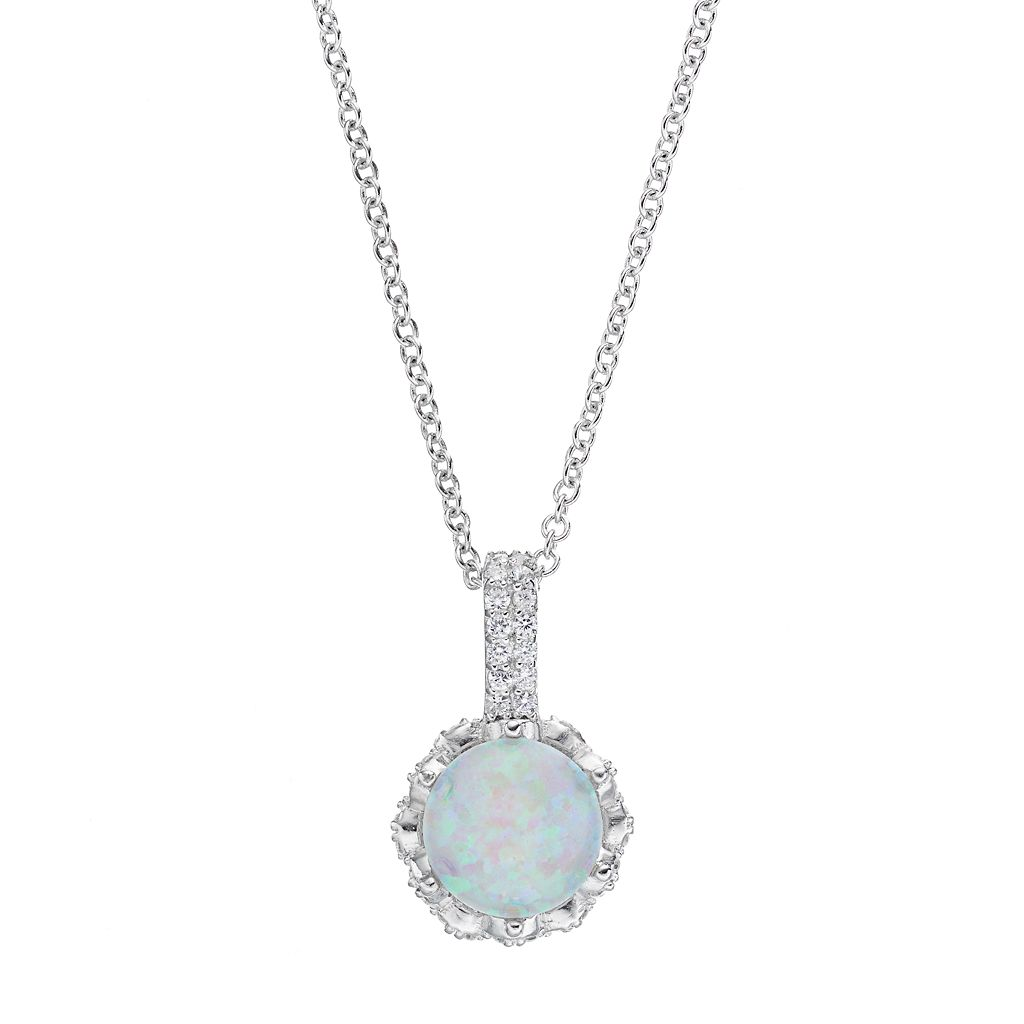 Sophie Miller Sterling Silver Lab-Created Opal & Cubic Zirconia Pendant