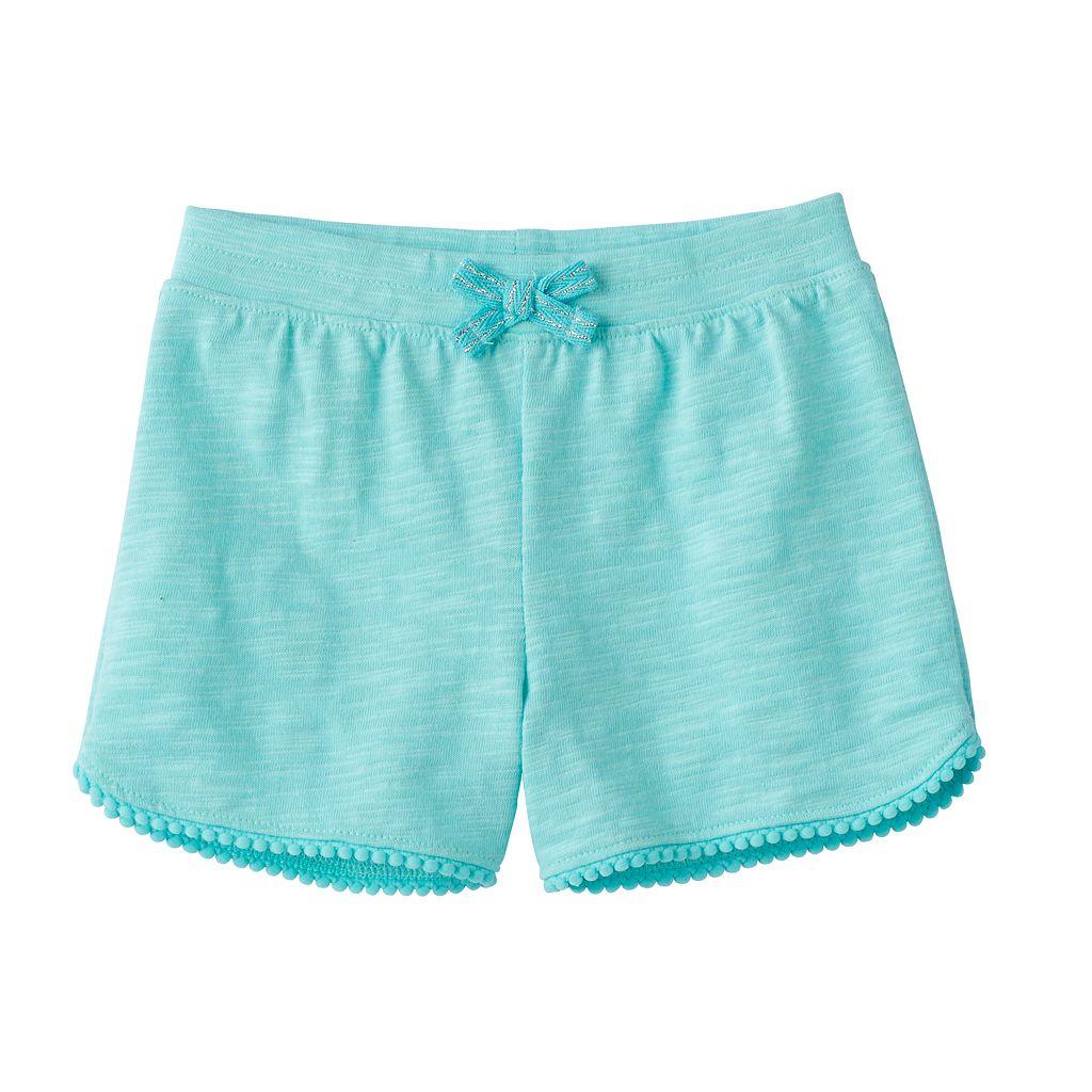 Baby Girl Jumping Beans® Slubbed Pom-Trim Shorts