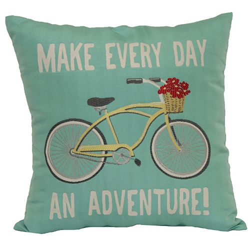 Brentwood ''Make Every Day An Adventure'' Bike Woven Throw Pillow