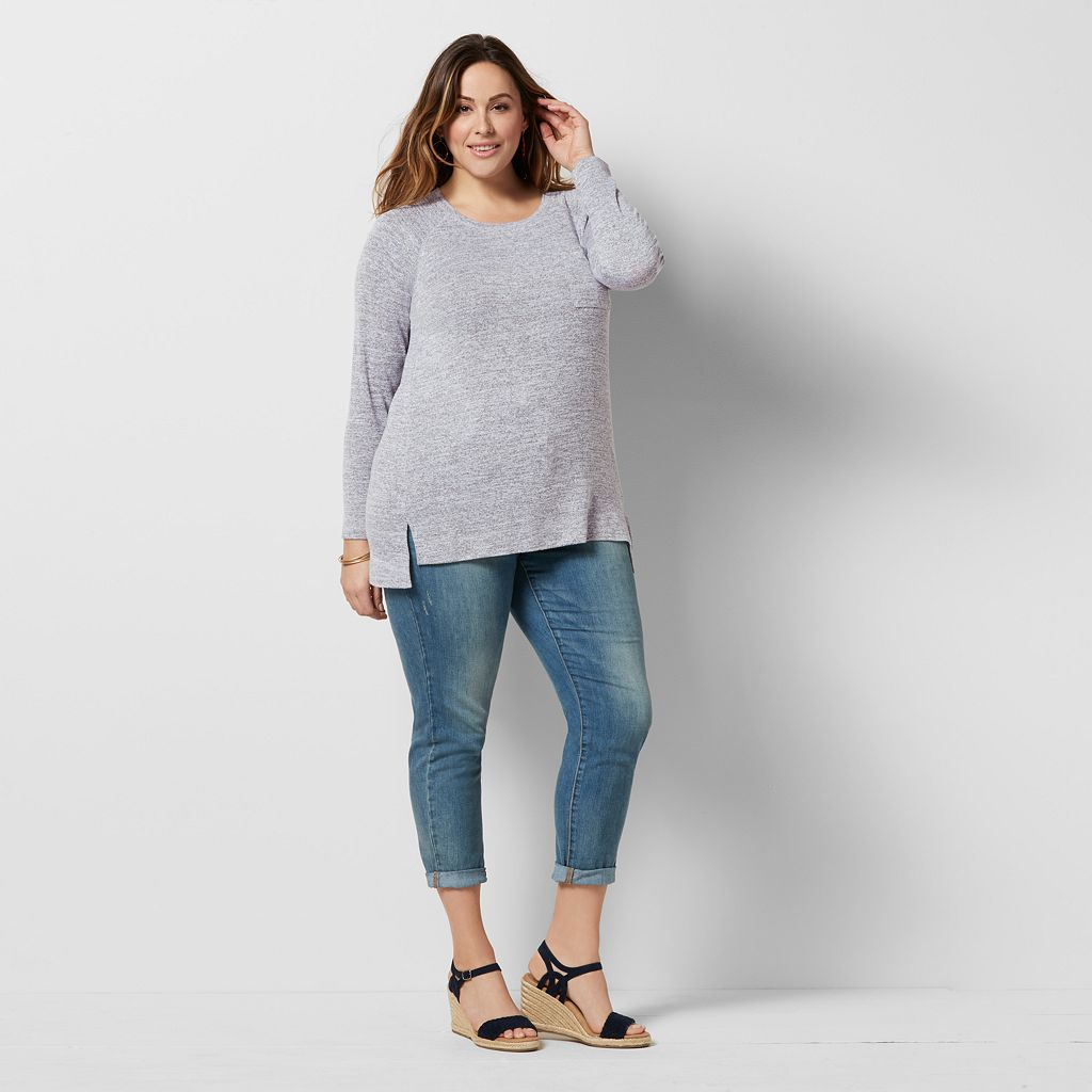 Plus Size SONOMA Goods for Life™ High-Low Marled Tee