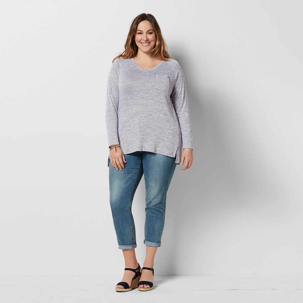 Plus Size SONOMA Goods for Life™ Marled V-Neck Tee
