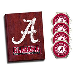 Alabama Crimson Tide Wall Art & Coaster Set