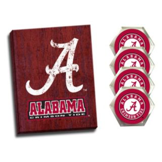 Alabama Crimson Tide Wall Art & Coaster Set