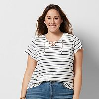 Plus Size SONOMA Goods for Life™ Striped Lace-Up Tee