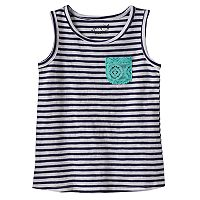 Toddler Girl Jumping Beans® Crochet Lace Chest Pocket Striped Tank Top