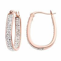 Chrystina 14k Rose Gold Plated Crystal Inside Out U-Hoop Earrings