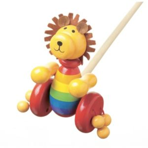 Orange Tree Toys Wooden Lion Push Along