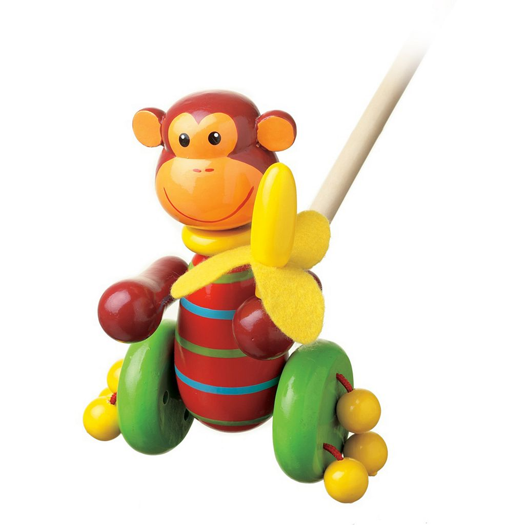 Orange Tree Toys Wooden Monkey Push Along