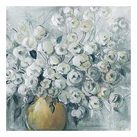 Cultivated Gray Farmhouse Floral Canvas Wall Art