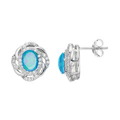 Sophie Miller Sterling Silver Lab-Created Opal & Cubic Zirconia Oval Stud Earrings