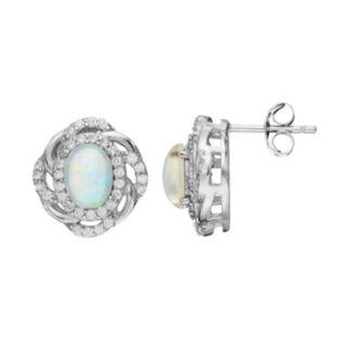 Sophie Miller Sterling Silver Lab-Created Opal & Cubic Zirconia Oval Stud Earrings