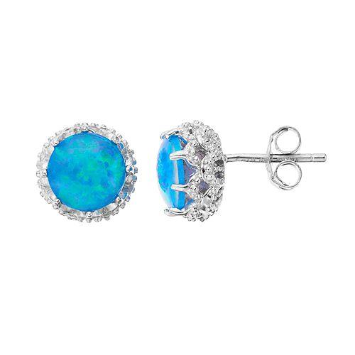 Sophie MillerSterling Silver Lab-Created Opal Stud Earrings