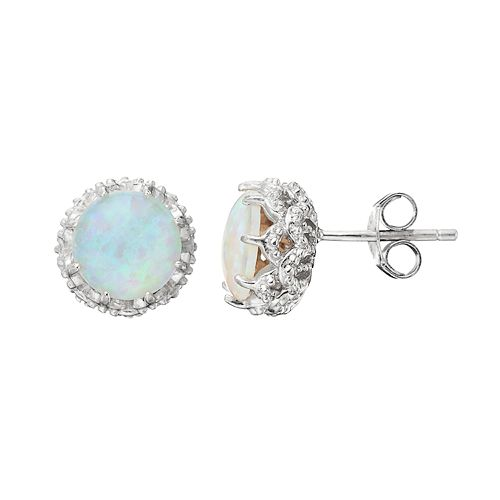 Sophie Miller Sterling Silver Lab-Created Opal Stud Earrings