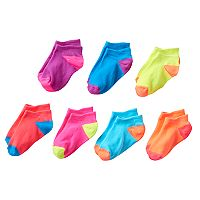 Girls 4-16 SO® 7 pkMicrofiber Neon No-Show Socks