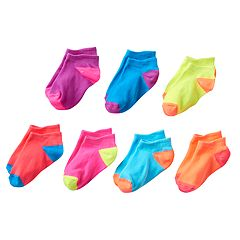Girls 4-16 SO® 7-pk. Microfiber Neon No-Show Socks