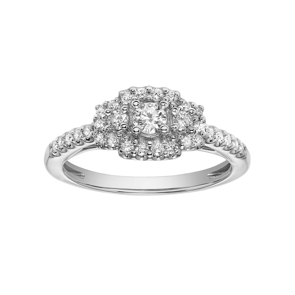 Simply Vera Vera Wang 14k White Gold 3/8 Carat T.W. Diamond Cluster Halo Engagement Ring