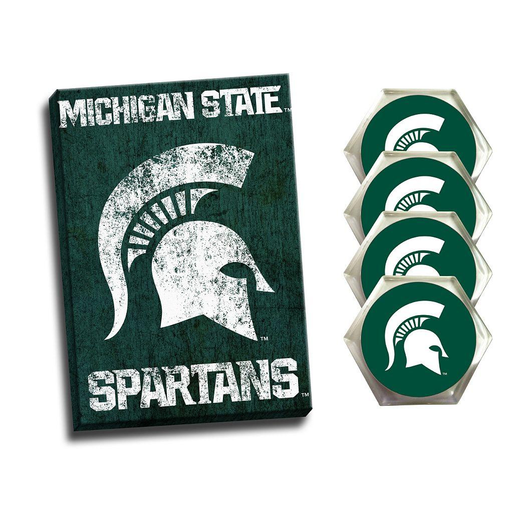 Michigan State Spartans Wall Art & Coaster Set