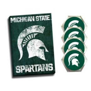 Michigan State Spartans Wall Art & Coaster Set