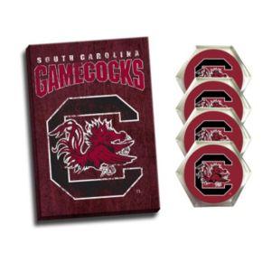 South Carolina Gamecocks Wall Art & Coaster Set