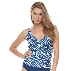 Plus Size Chaps Abstract Tummy Slimmer Tankini Top