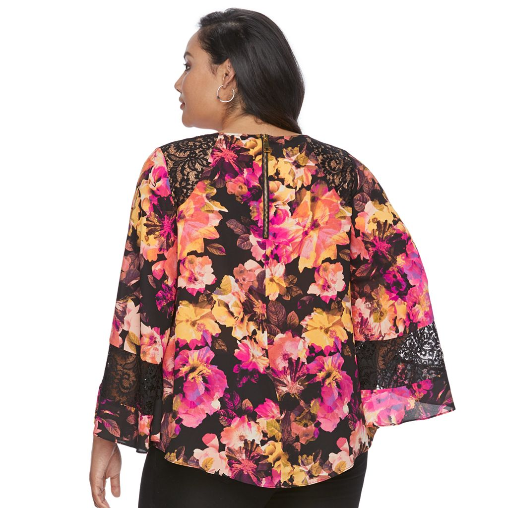 Plus Size Jennifer Lopez Floral Caftan Top