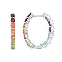 Sterling Silver Gemstone Inside-Out Oval Hoop Earrings