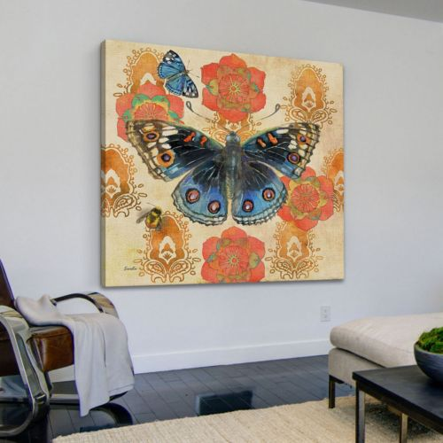 Marmont Hill Blue Pansy Butterfly Canvas Wall Art