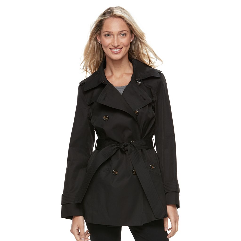 Women's Towne by London Fog Double-Breasted Trench Coat
