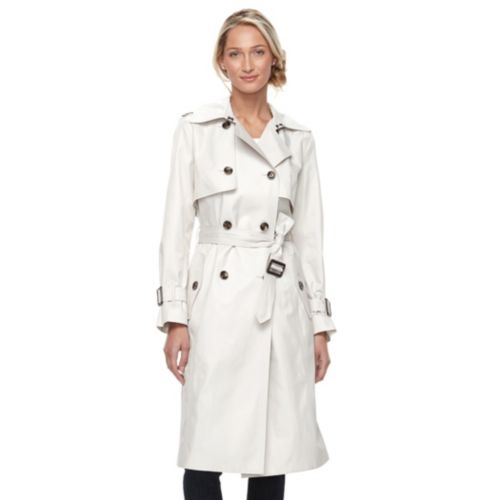 Women's Towne by London Fog Double-Breasted Long Trench Coat