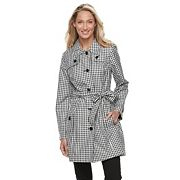 Women's Towne by London Fog Gingham Trench Coat