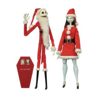 Disney's Nightmare Before Christmas Santa Jack Skellington & Sally Coffin Doll Set by Diamond Select Toys