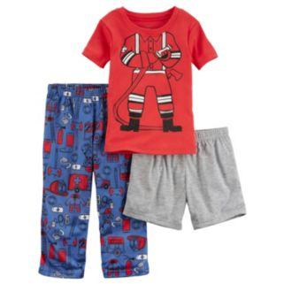 "Toddler Boy Carter's ""Fireman"" Tee, Printed Pants & Solid Shorts Pajama Set"