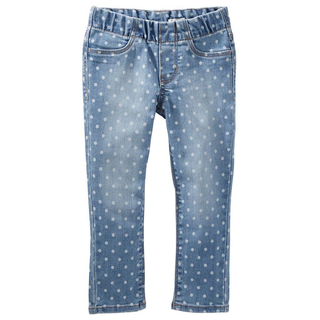 Girls 4-8 OshKosh B'gosh® Polka-Dot Pull-On Denim Pants