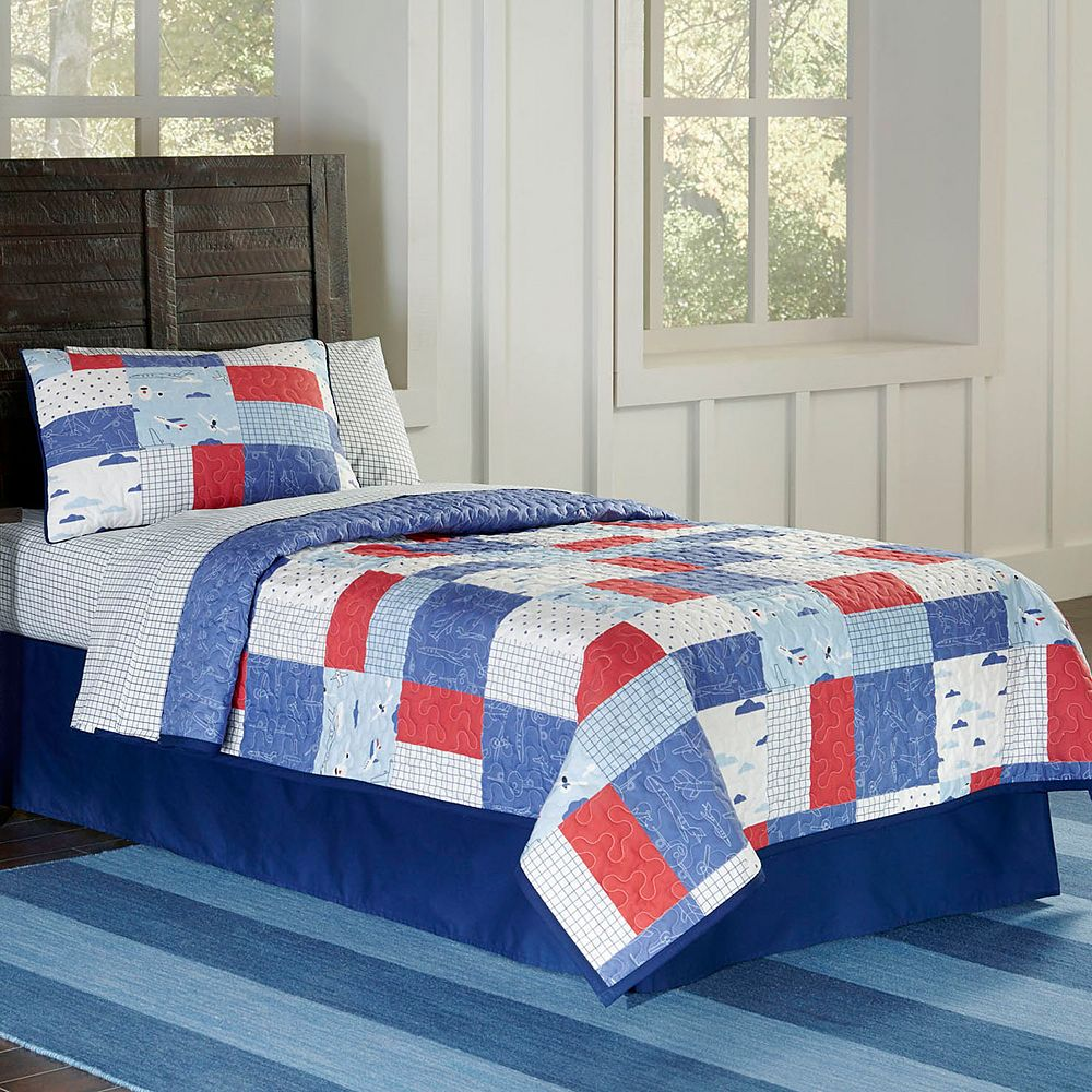 Airplanes Cotton Percale Quilt Set
