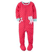 Baby Girl Carter's Polka-Dot Applique Footed Pajamas