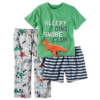 Toddler Boy Carter's Graphic Tee, Print Pants & Shorts Pajama Set