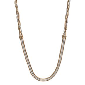 Napier Long Two Tone Braided Snake Chain Multi Strand Necklace