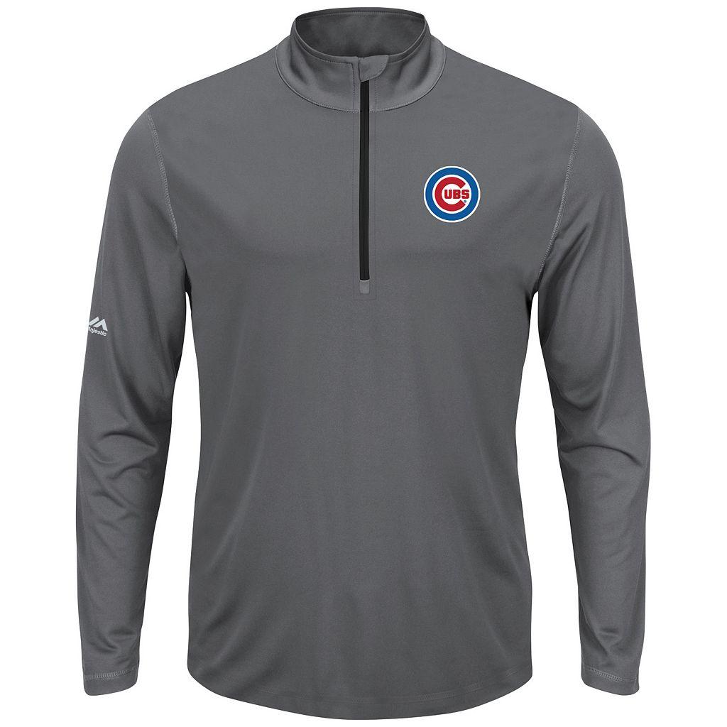 Men's Majestic Chicago Cubs Quarter-Zip Mockneck Pullover
