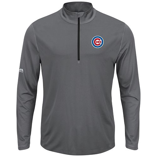 Men's Majestic Chicago Cubs Quarter-Zip Mockneck Pullover