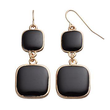 Black Graduated Square Drop Earrings