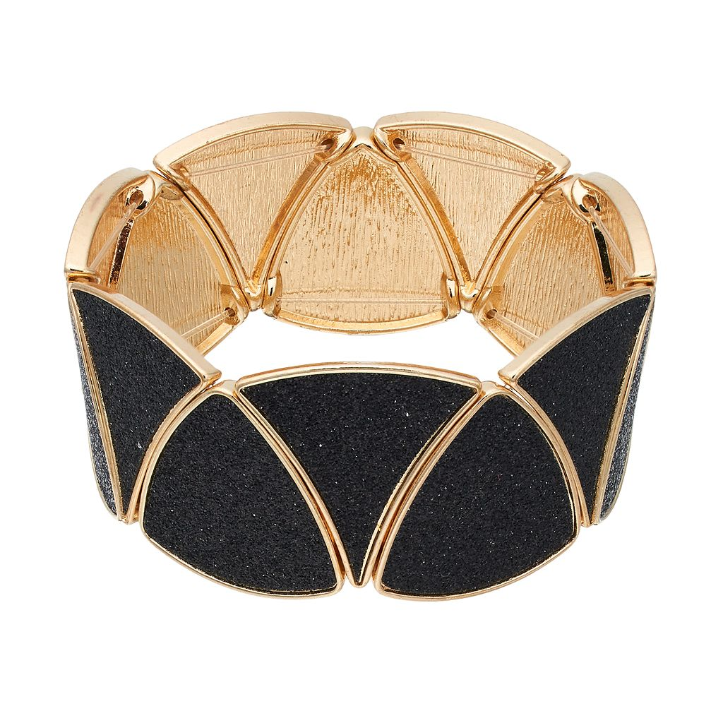 Black Glittery Triangle Stretch Bracelet