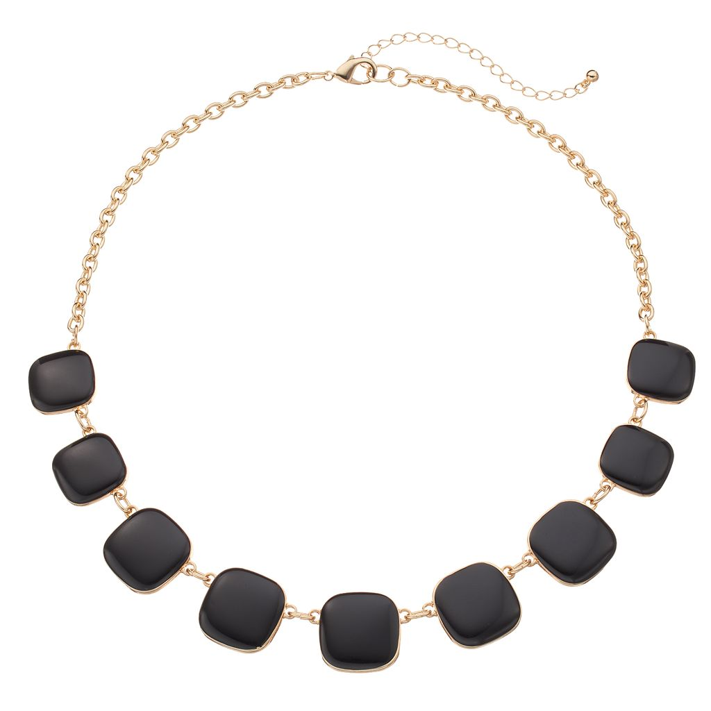 Black Graduated Square Necklace