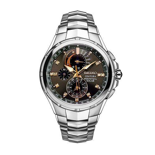 Seiko Men's Coutura Diamond Stainless Steel Solar Chronograph Watch - SSC561