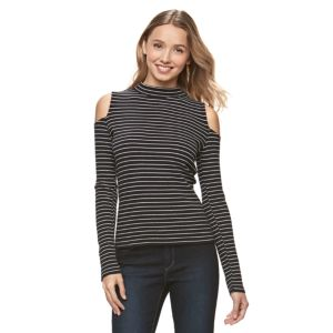 Juniors' SO® Mockneck Cold-Shoulder Top