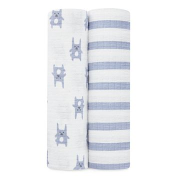 aden by aden + anais 2-pk. Blue Bunny Flannel Swaddling Wraps