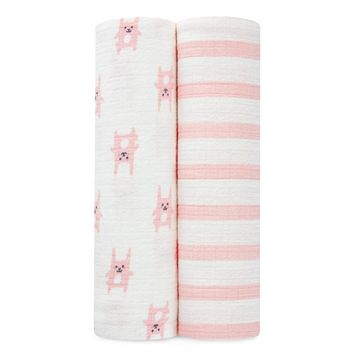 aden by aden + anais 2-pk. Pink Bunny Flannel Swaddling Wraps