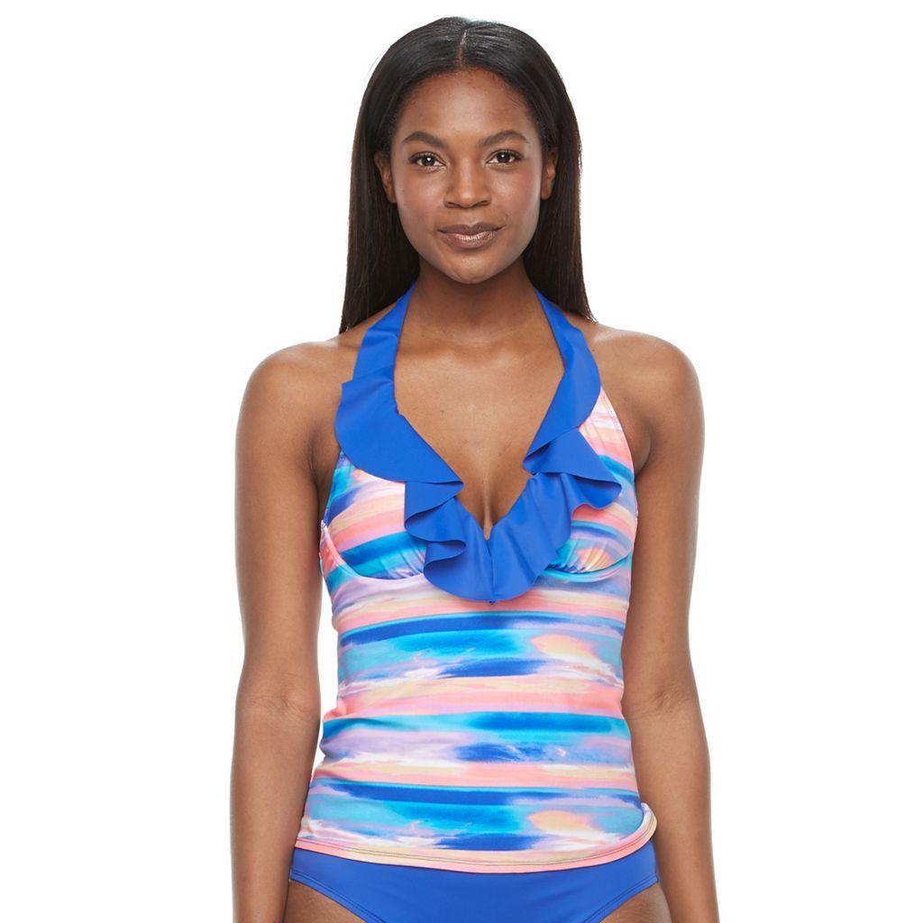 Women's S.O.S. Sun Ocean Sand Ruffled Bra-Sized Halterkini Top