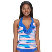 Women's S.O.S. Sun Ocean Sand Ruffled Bra-Sized Halterkini Top