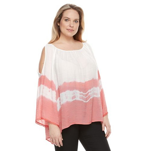 9fd1e80930fef3 Plus Size AB Studio Tie-Dye Cold-Shoulder Top